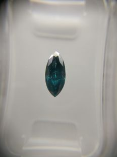 0.48 ct Marquise cut diamond Fancy Deep Greenish Blue SI3