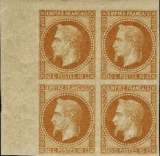 France 1867 - Laureate Empire 10 centimes bistre block of 4 ND Rothschild issue - Yvert no. 28a