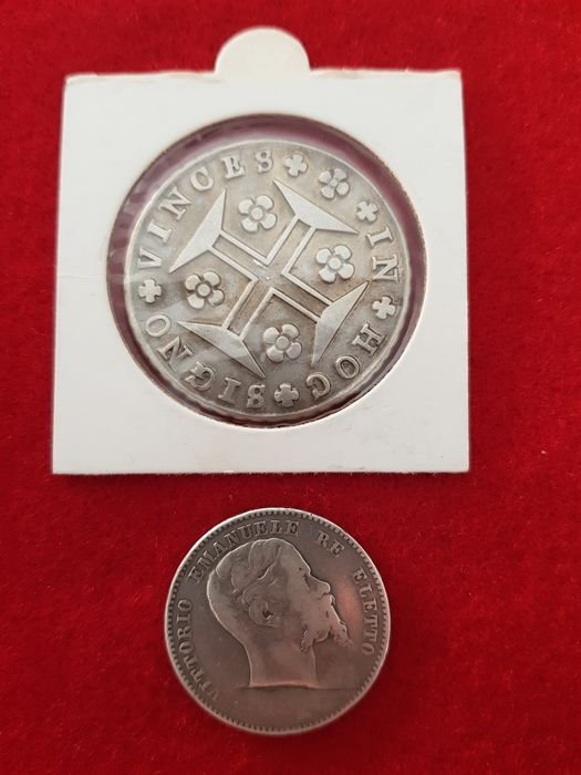 Italy and portugal 2 lire 1860 florence 400 reis for Coin firenze