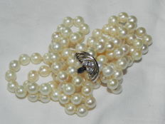 Pearl necklace collier Akoya pearls approx. 6.8 mm in diameter with silver latch back