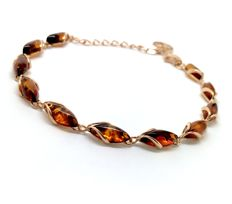 Fine 24K gold-plated sterling silver bracelet with natural Baltic Amber (not pressed) no reserve