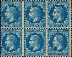 France 1868 - Empire Laurel 20 centimes blue type II block of 6 mint gummed, Yvert 29B