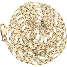 14 kt – Yellow gold Figaro link necklace – Length:  50.5 cm