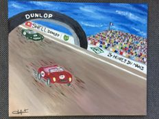 """Oil on canvas """"24 hours of le Mans 1958, Supremacy of the Scuderia"""" - by Jeremy Duforest"""