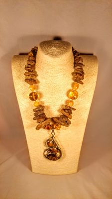 Baltic Amber necklace with Silver 925 pendant , length 56 cm, 144 grams