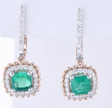 Bicolour gold earrings set with 2 intense green Columbian emeralds, 1.40 ct in total & 56 brilliant cut diamonds, 0.50 ct in total