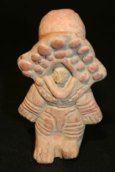 Pre-Columbian Archaeological Finds in Ceramic Pacific Coast Region - Colombia. Masked anthropomorphic figure (astronaut!)? Height 105 mm