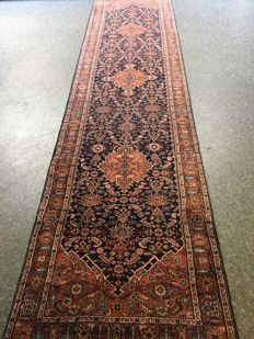 Gorgeous hand-knotted Hamadan with plant-based dyes - approx. 95 x 405 - India - in very good condition - fast shipping!