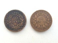 French Colonies - 10c 1827 H and 1839 A (lot of two coins).