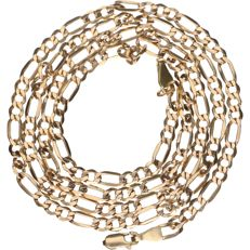 14 kt – Yellow gold, Figaro link necklace – Length: 60 cm