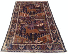 Amazing Pictorial Hand Knotted Afghan Balouch Herati Area Rug 200 cm x 110 cm