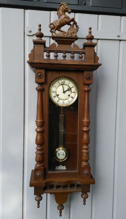Oak wood regulator clock - jeweller's clock - the Netherlands, late 20th century