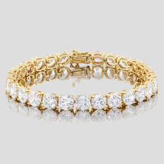 14KT yellow gold bracelet set  with 27 created moissanites, Total Length: 7 inches