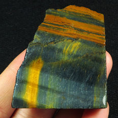 Yellow-Blue Tigereye- Facet Rough - Specimen - Untreated 100% Natural - 49 x 50 x 9 mm - 174 ct