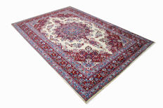 Fine Persian carpet, Sabzevar, 2.96 x 1.98 cream hand-knotted high-quality new wool oriental carpet TOP CONDITION, no. 128