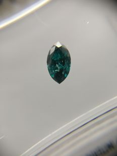 0.24 ct Marquise cut diamond Fancy Dark Bluish Green SI3