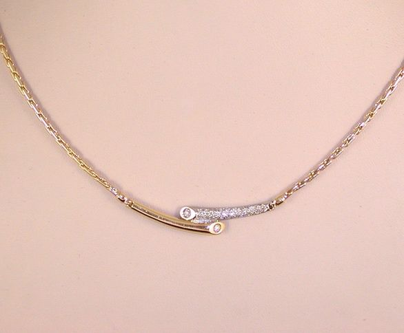 Diamond Necklace 1,00ct. 18K Yellow & White Gold // Length Necklace: 45,0cm.
