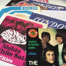 The Moody Blues lot of 8 7inch singles including various editions of Nights In White Satin
