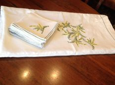 Magnificent pure linen tablecloth for 12 - hand embroidered - with branches of mimosa