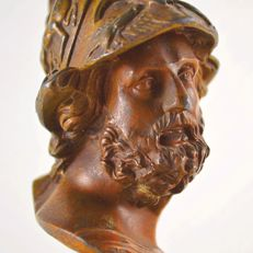 Antimony bust of Pericles with brown patina, circa 1920
