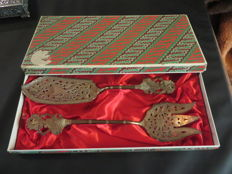 Silver Djokja cutlery in original box, Indonesia, early 20th century