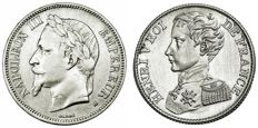 France - 1 Franc 1831 (Henri V) & 5 Francs 1869-BB (Napoleon III) - Lot of 2 coins - Silver