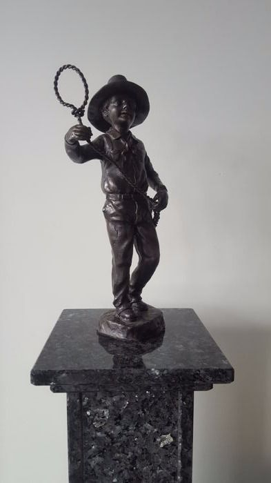 Bronze Figure of Cowboy with Lasso