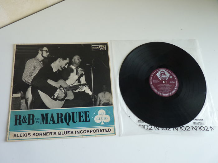"Lot with most famous British rhythm & blues MONO album: Alexis Korner's ""R & B from the Marquee"" in a vg+++ state,first UK press(1962!) on the Ace of Clubs label,flipback cover"
