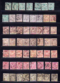 France 1878/1900 - Lot of 55 stamps Type Sage N under B - Yvert 61 to 72