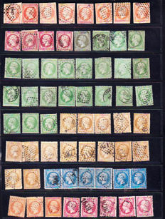 France 1862/1865 – Test of colours and cancellation varieties on Napoleon III - Yvert 16 to 24