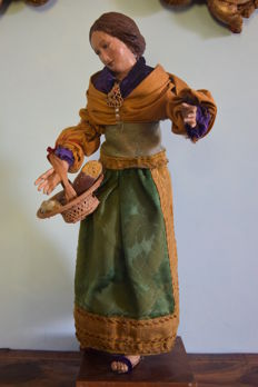 Figurine from a Nativity scene, 'La Formaggiara' (The Cheesemaker) - Italy, 19th century