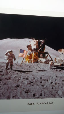 Apollo-Falcon on the Moon: a super-slide and two pictures