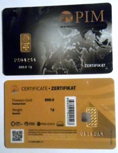 1 pc. gold bar 1g Nadir PIM GOLD fine gold sealed, fineness 999.9/1,000; 24 Karat Gold bar Bullion, LBMA certified