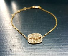 Signed Designer Meira T Diamond Plate Bracelet in 18k Yellow Gold - 170mm long