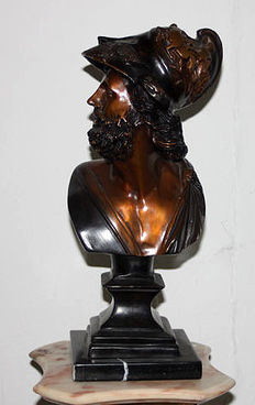 Bronze Bust Ajax - End of 20. century, on marble Base, good conditions