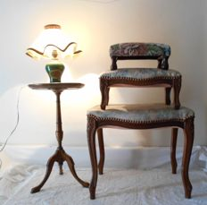 Three foot rests in Louis XV style, a lamp, and its stand - France - 1960