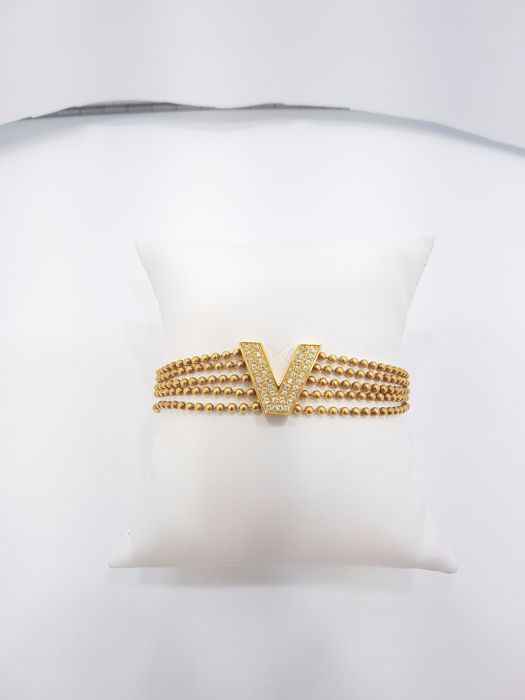 Versace V-Line Collection 18ct Yellow Gold Bracelet - Length of Bracelet 19 cm