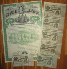 USA - State of Louisiana 4% Bond $1000 1892 with DECO vignettes + uncut sheet of 4x $5 Baby Bonds 1874 - Lot of 7