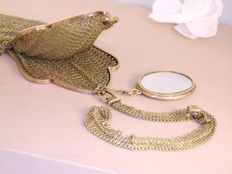 Golden money pouch set with sapphires & baby pearls