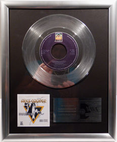 "Alice Cooper - Department of Youth - 7"" Single Anchor Records platinum plated record by WWA Awards"