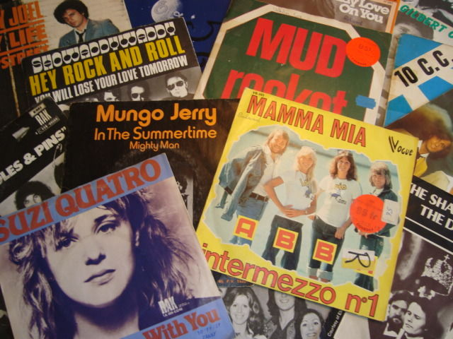 """Remember The 70's! 45 Great 7""""-singles from the 70's:  Mud, Slade, 10CC, Billy Joel, The Hollies, ELO, Nazareth, Shocking Blue and More"""