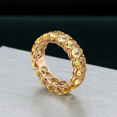 Eternity ring with citrines approx. 6.40ct in total in 750/18kt rose gold ---no reserve price---