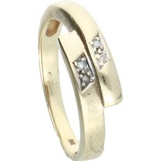 14 kt - Yellow gold ring set with 4 octagon cut diamonds of approx. 0.02 ct in total - Ring size 17 mm
