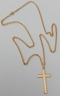 18 kt gold necklace with 18 kt gold cross - 61 cm