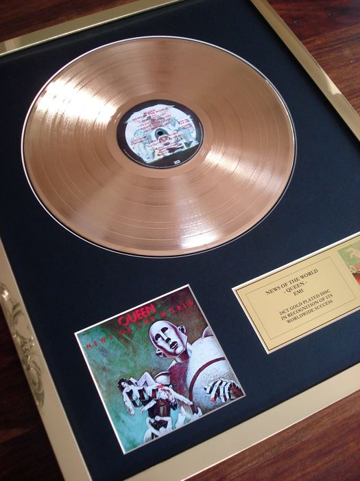 Queen News of the World 24ct Gold Plated Disc Record LP Album Award