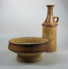 Bruno Karlsson for Ego Stengods Atelje - 2 studio pottery items (vase and bowl)