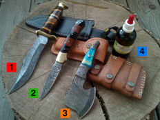 1 x Damascus Steel hunting knife/camping/outdoor + 1 x Damascus Steel pocket knife / folding knife + 1 x small Damascus steel axe + 100 ml of Camellia oil