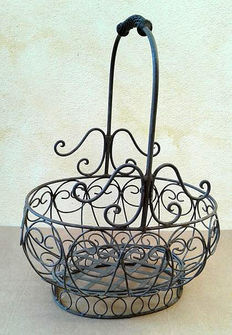 Beautiful large wrought iron basket, handmade, second half of the 20th century