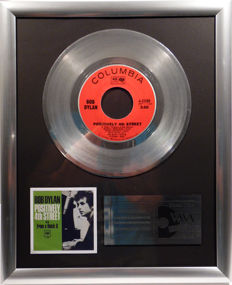 "Bob Dylan - Positively 4th Street - 7"" Single Columbia Records platinum plated record by WWA Awards"