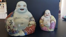 Set of 2 porcelain Buddhas - China - mid-20th century